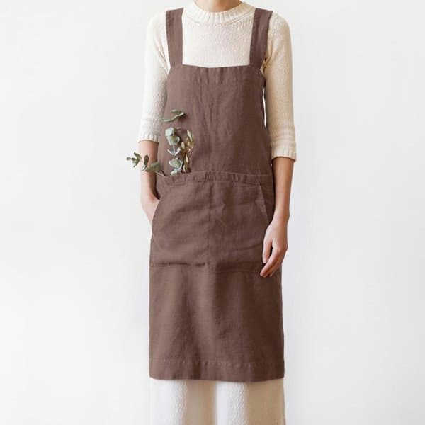 Nutmeg Washed Linen Pinafore Apron - Lithuania