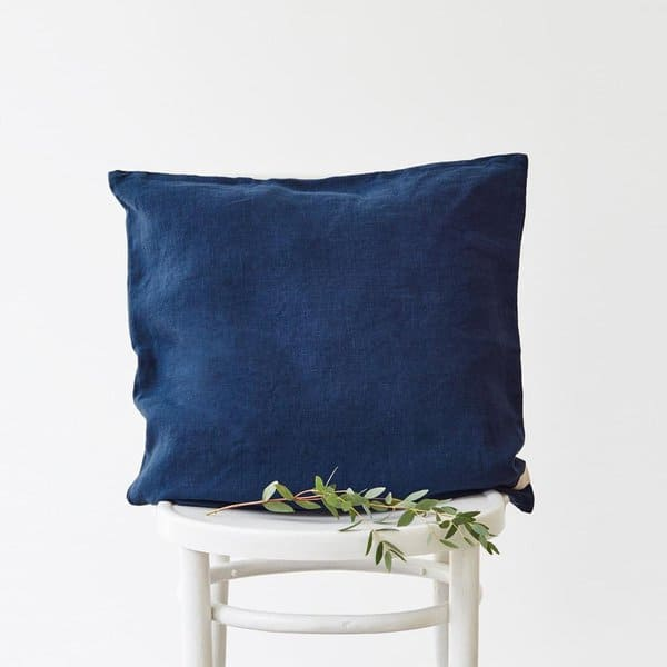 Navy Washed Linen Cushion Cover - Lithuania