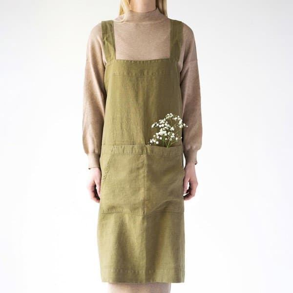 Martini Olive Washed Linen Pinafore Apron - Lithuania