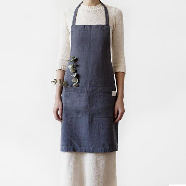 Dark Grey Washed Linen Apron - Lithuania