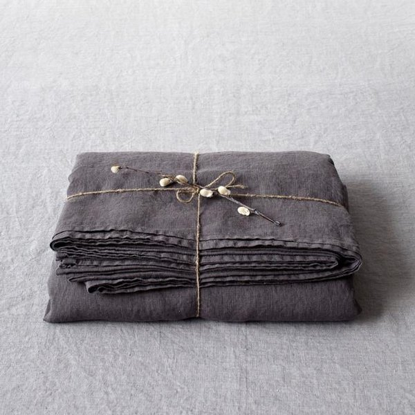 Dark Grey Washed Linen Bed Sheet - Lithuania
