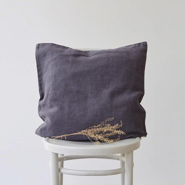 Dark Grey Washed Linen Cushion Cover - Lithuania