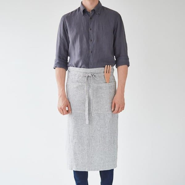 Thin Black Stripe Washed Linen Waist Apron - Lithuania