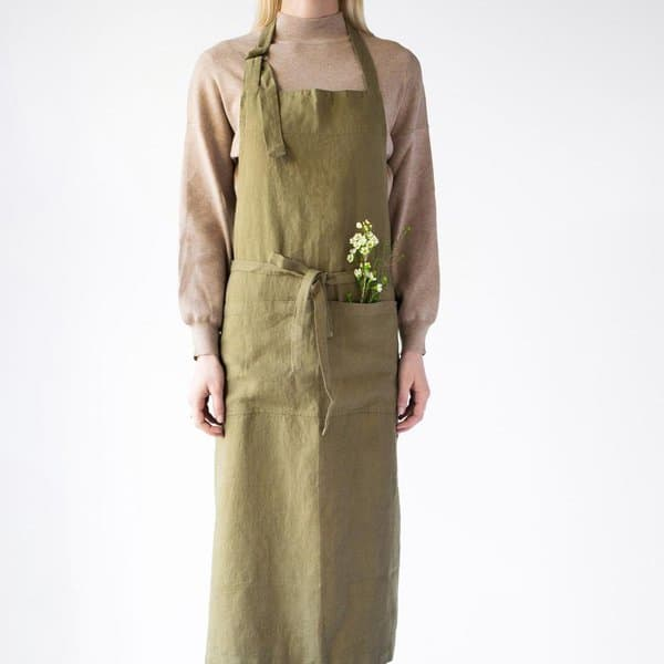 Martini Olive Washed Linen Chef Apron - Lithuania
