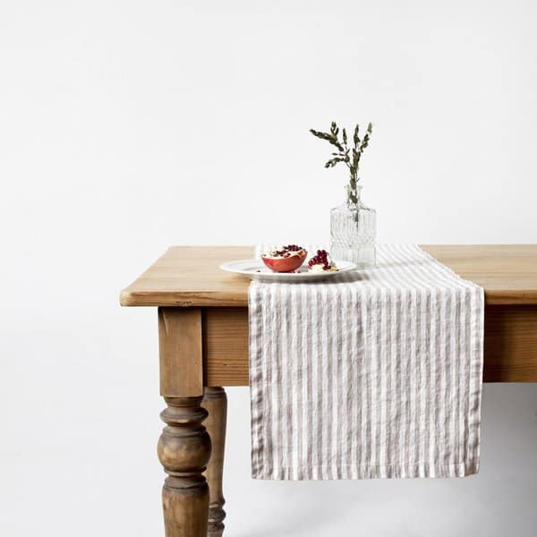 Natural Stripe Washed Linen Table Runner - Lithuania