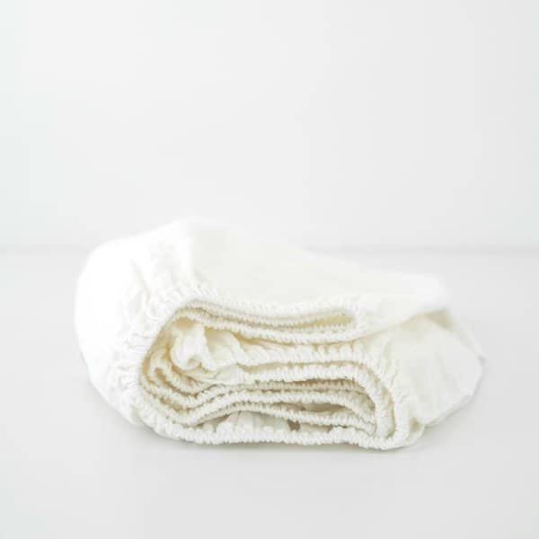 White Kids Washed Linen Fitted Sheet - Lithuania