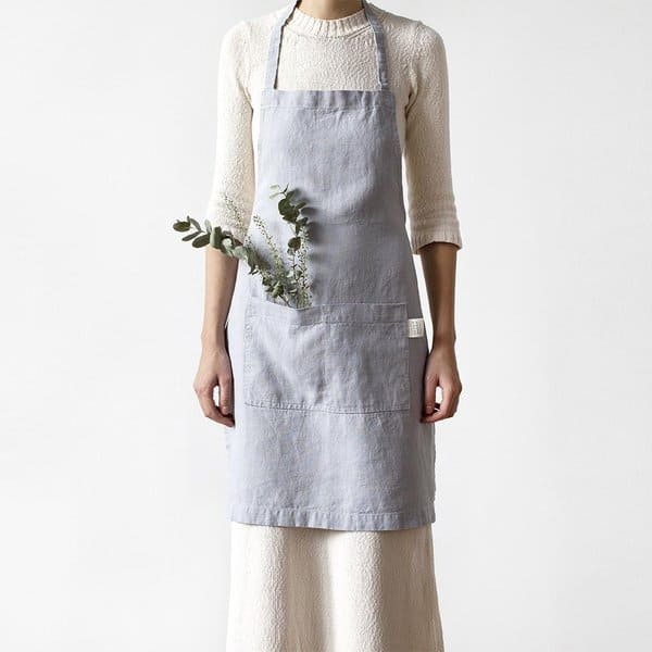 Light Grey Washed Linen Apron - Lithuania