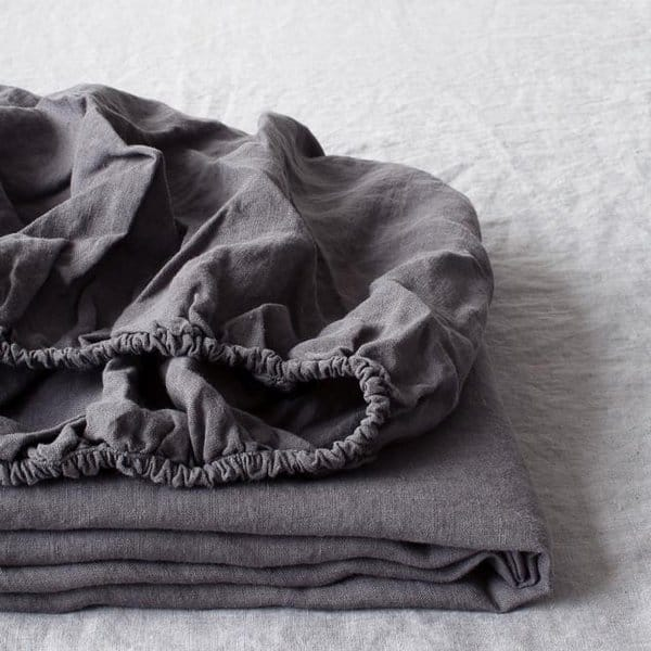 Special Edition| Graphite Fitted Washed Linen Bed Sheet - Lithuania