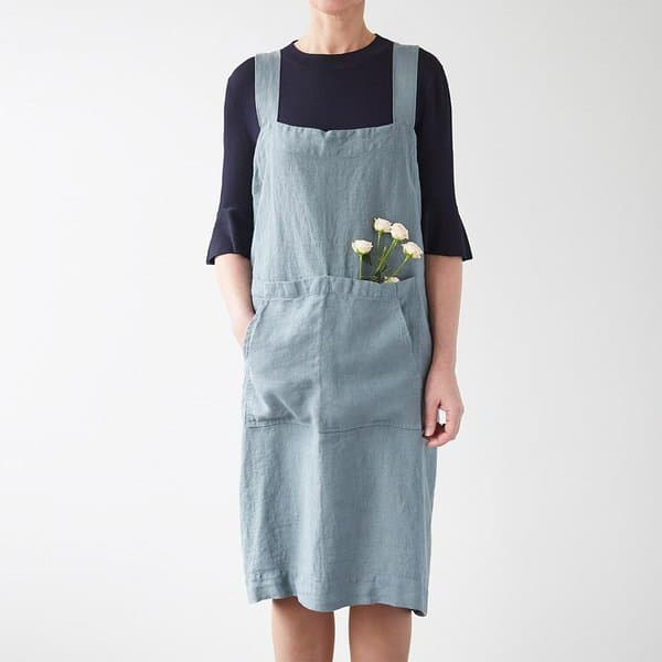 Blue Fog Washed Linen Pinafore Apron - Lithuania
