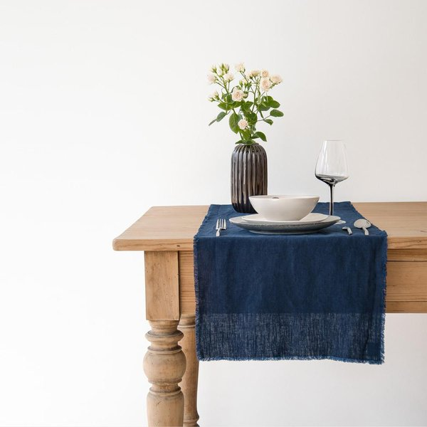 Navy Washed Linen Table Runner with Fringes - Lithuania