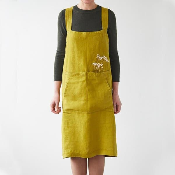 Moss Green Washed Linen Pinafore Apron - Lithuania