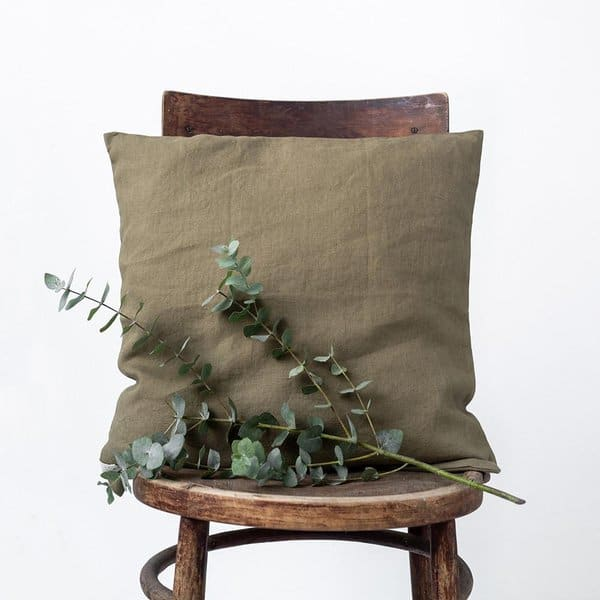 Martini Olive Washed Linen Cushion Cover - Lithuania