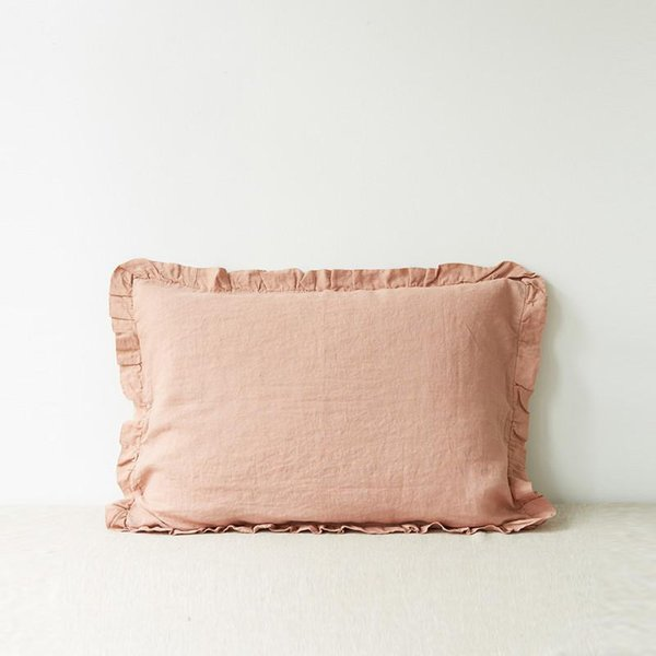 Cafe Creme Frilled Washed Linen Pillow Case - Lithuania