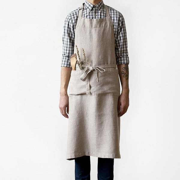 Natural Washed Linen Chef Apron - Lithuania