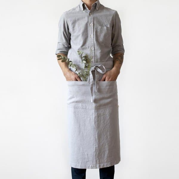 Light Grey Washed Linen Waist Apron - Lithuania
