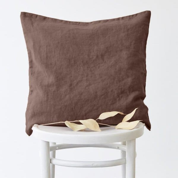 Nutmeg Washed Linen Cushion Cover - Lithuania