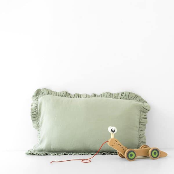 Sage Kids Frilled Washed Linen Pillow Case - Lithuania