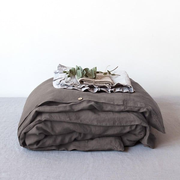 Dark Grey Washed Linen Duvet Cover - Lithuania