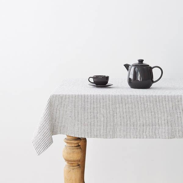 Thin Black Stripes Washed Linen Tablecloth - Lithuania