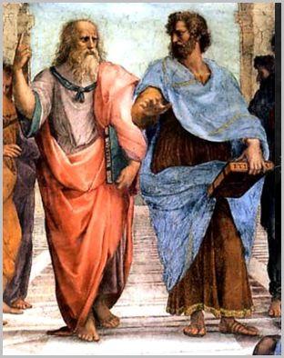 Platon et Aristote. Détail de la fresque L'Ecole d'Athènes, de Raphaël.