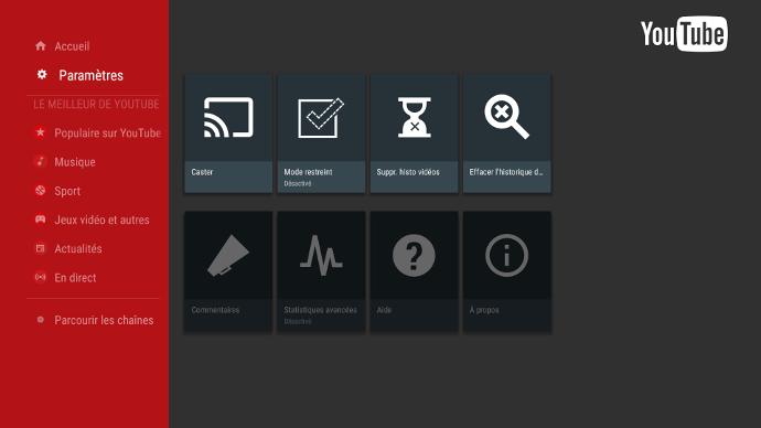 Paramètres youtube sur un écran interactif
