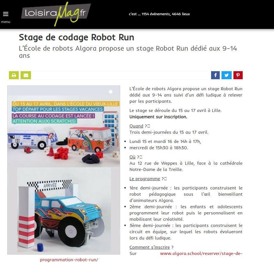 La Robot Run présentée sur le site Loisirmag
