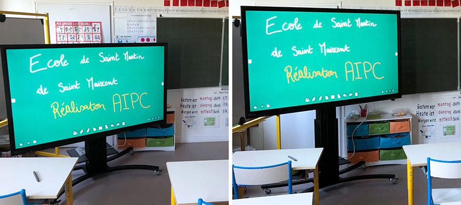 installation d'un écran interactif sur support mobile et motorisé dans une classe de primaire