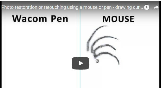 Photo restoration drawing curves with a pen or mouse