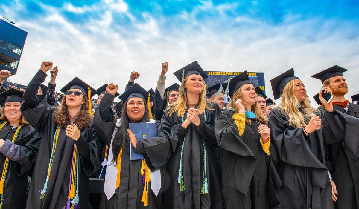University of Michigan graduates at 2019 Commencement at Michigan Stadium in Ann Arbor