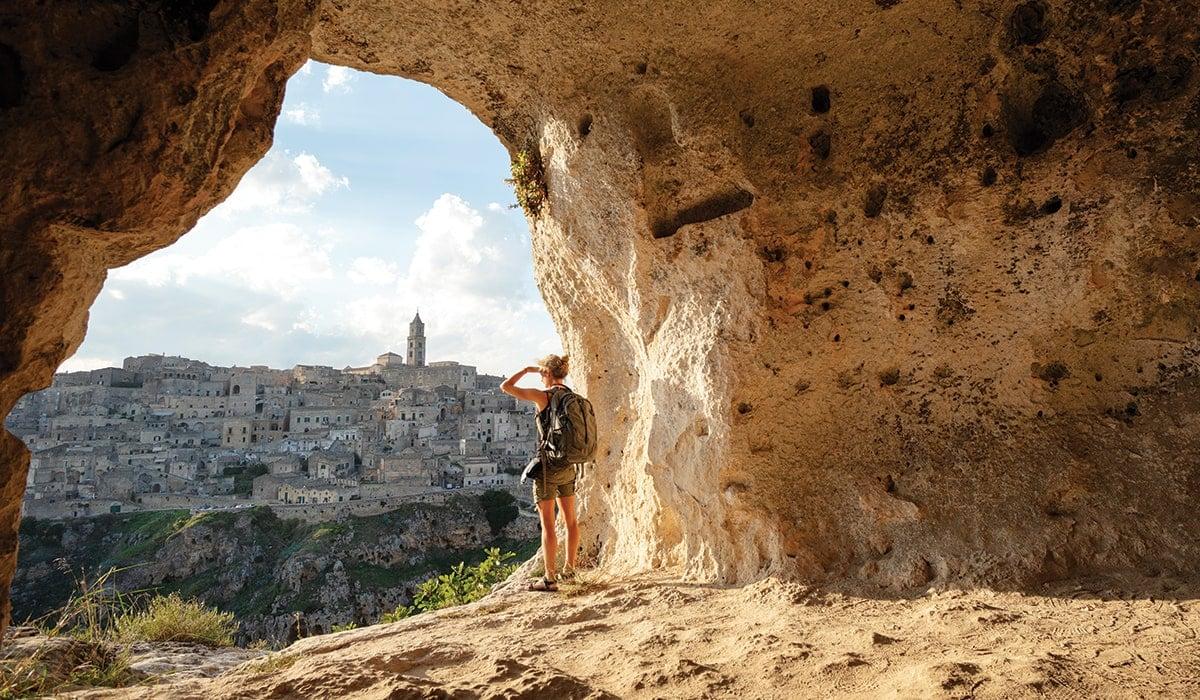 Woman looking out at Matera, Italy