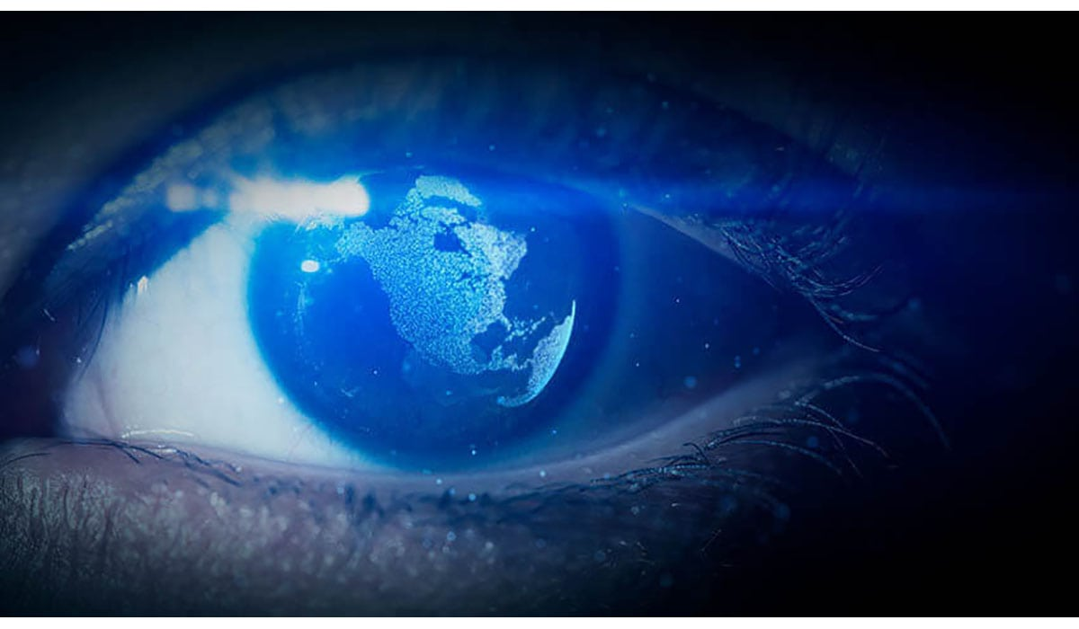 Pupil Of Eye With World Map Being Reflected In The Eye Gatewayextension