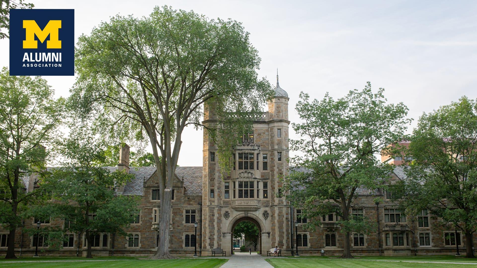 University of Michigan Law Quad with Alumni Association logo