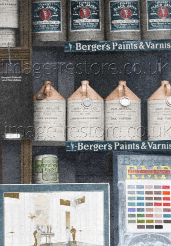 Mylands Paints and Varnish 1884 hand coloured image detail