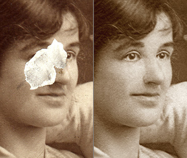 Photo restoration and rebuilding a face with a piece missing