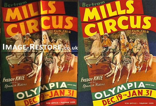 Vintage circus poster restoration