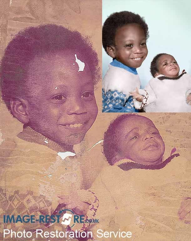 Water damaged photo of children before and after restoration