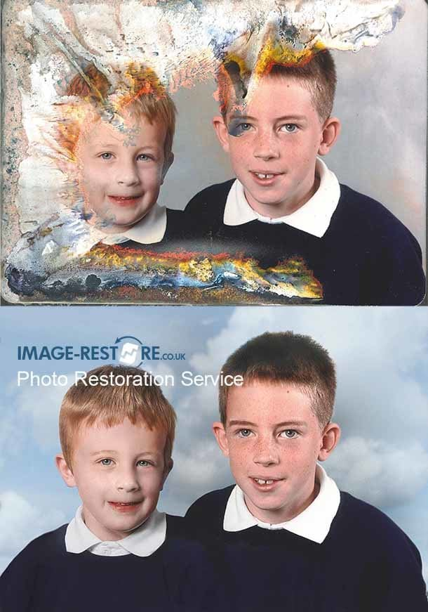 Water damaged photo of two boys restored