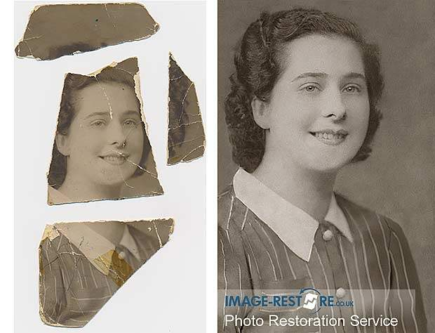 Torn photo restored with missing pieces