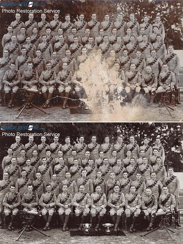 Lucknow India 1934 Royal Hussars restored before and after