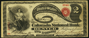 1863 $2 National Bank Notes Red Seal with rays