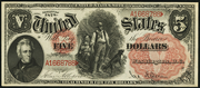1878 $5 Legal Tender Red Seal with rays