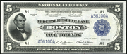 1918 $5 Federal Reserve Bank Note Blue Seal