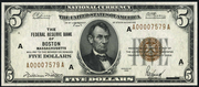 1929 $5 Federal Reserve Bank Note Brown Seal