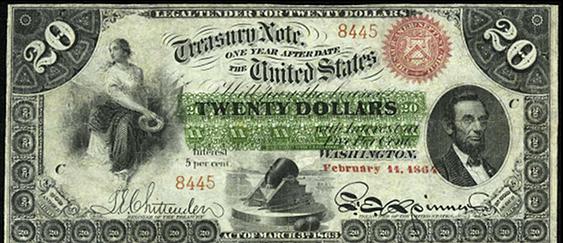 1863 Twenty Dollar Interest Bearing Notes 1yr