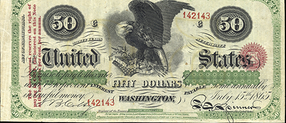 1865 Fifty Dollar Interest Bearing Notes 3yr
