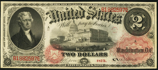 1875 Two Dollar Legal Tender Or United States Note