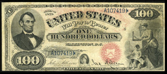 1878 One Hundred Dollar Legal Tender Or United States Note