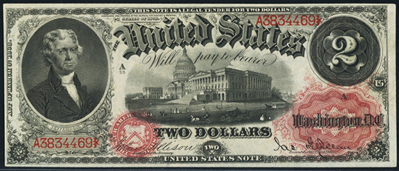 1878 Two Dollar Legal Tender Or United States Note
