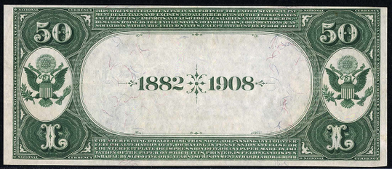 1882 \$50 Date Back - Back
