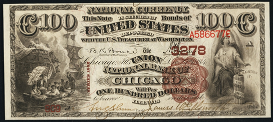 1882 \$100 Brown Back - Front